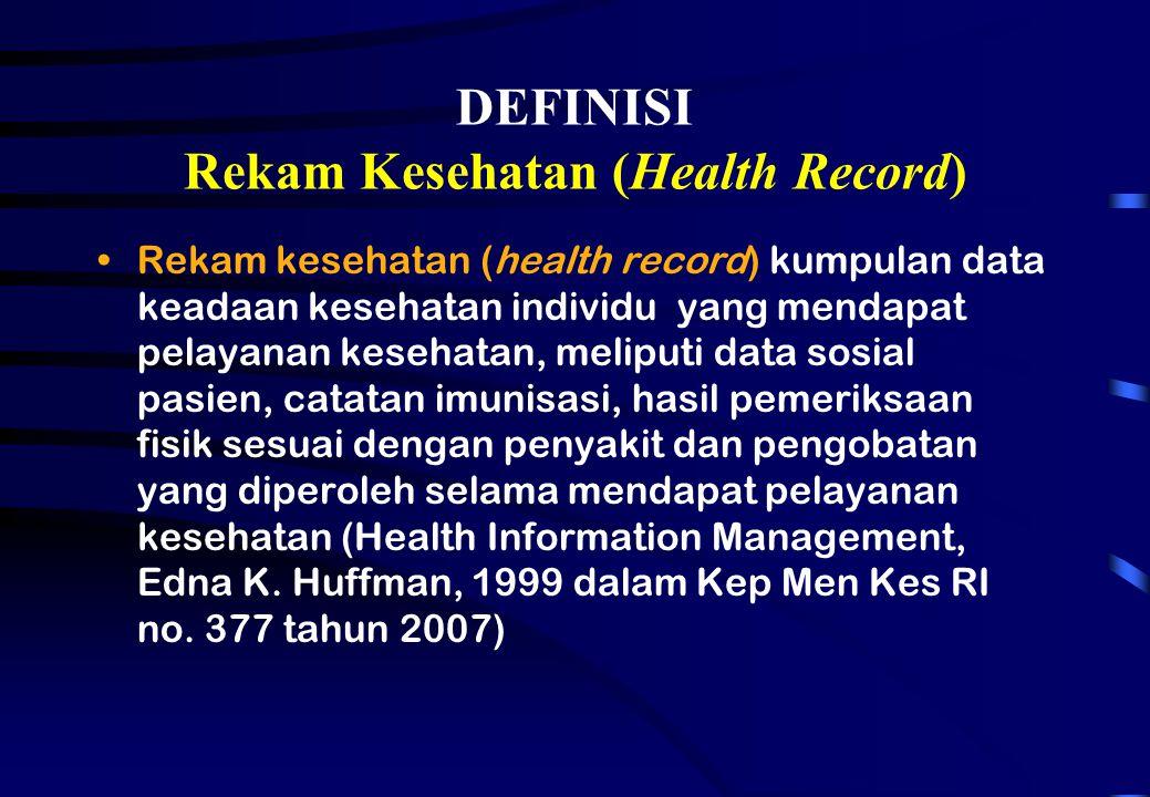 DEFINISI Rekam Kesehatan (Health Record)