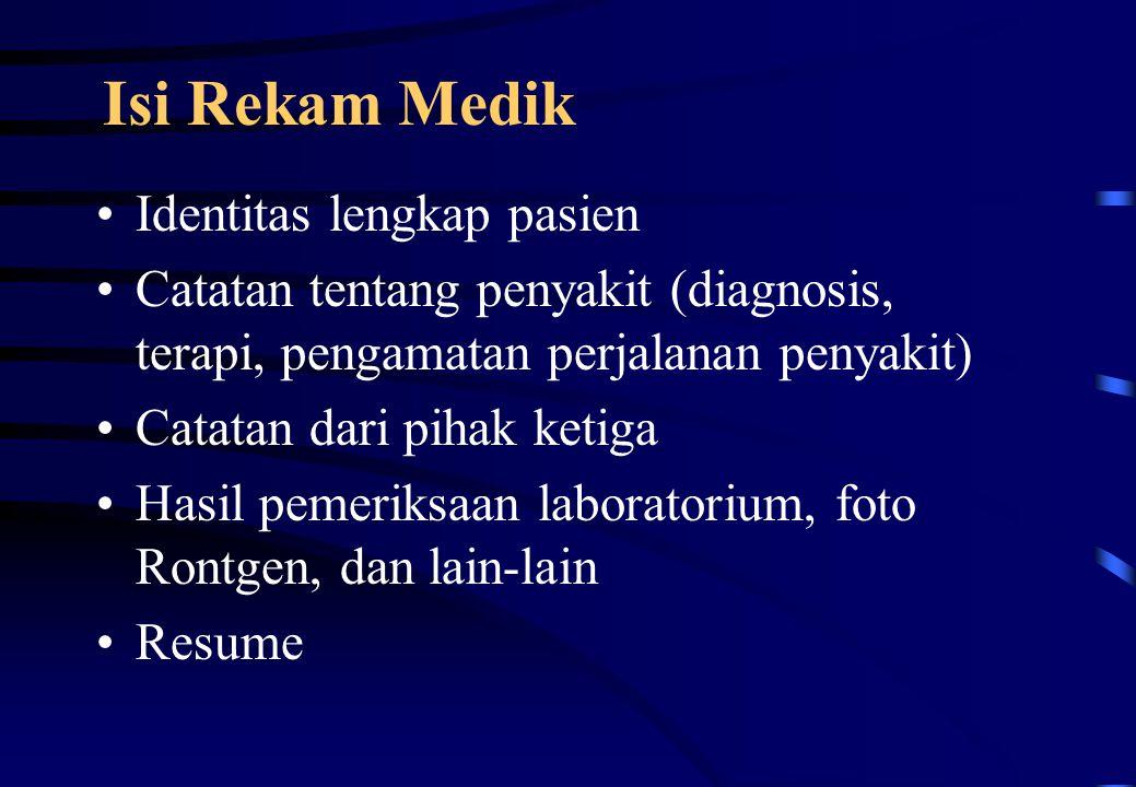 Isi Rekam Medik Identitas lengkap pasien