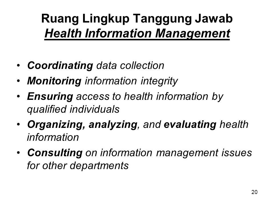 Ruang Lingkup Tanggung Jawab Health Information Management