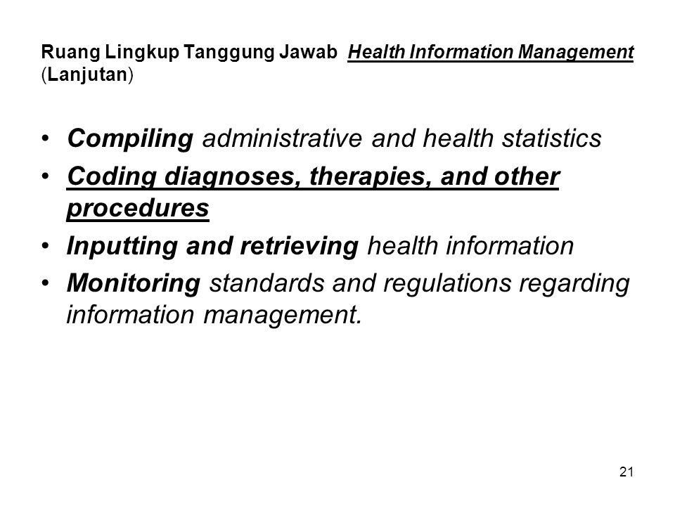 Ruang Lingkup Tanggung Jawab Health Information Management (Lanjutan)