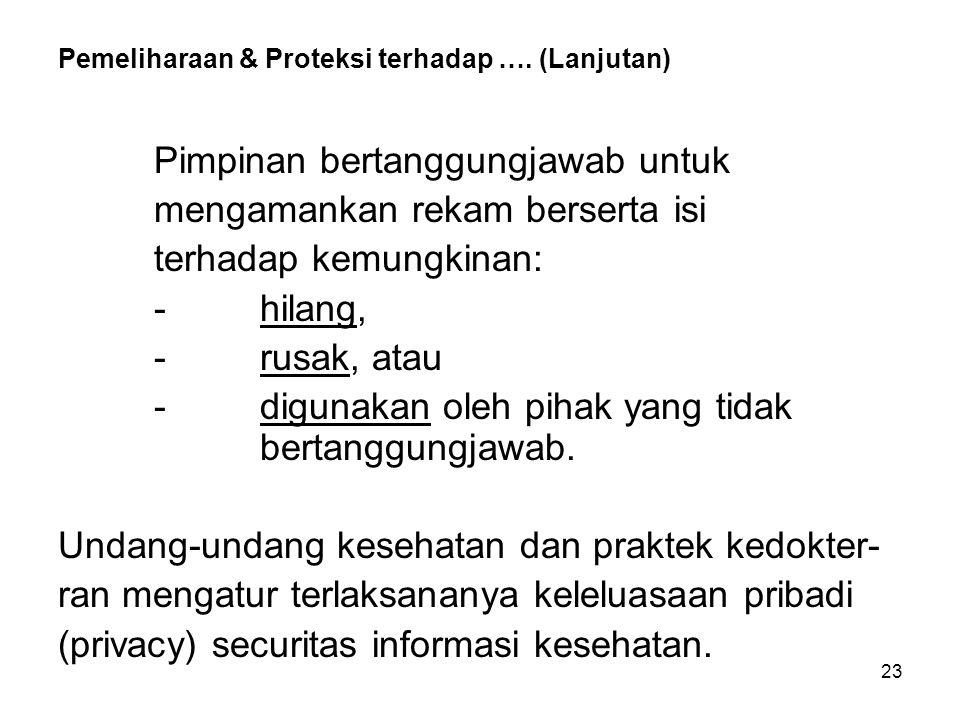 Pemeliharaan & Proteksi terhadap …. (Lanjutan)