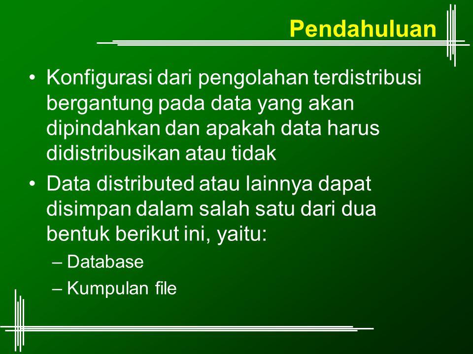 Pendahuluan Konfigurasi dari pengolahan terdistribusi bergantung pada data yang akan dipindahkan dan apakah data harus didistribusikan atau tidak.