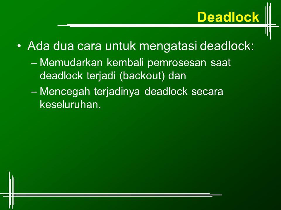 Deadlock Ada dua cara untuk mengatasi deadlock: