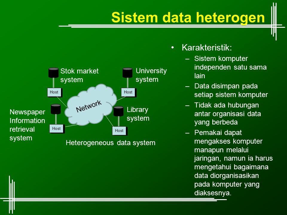 Sistem data heterogen Karakteristik: