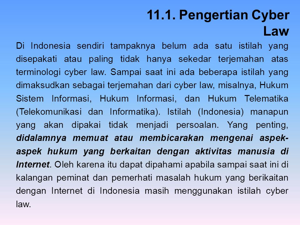 11.1. Pengertian Cyber Law