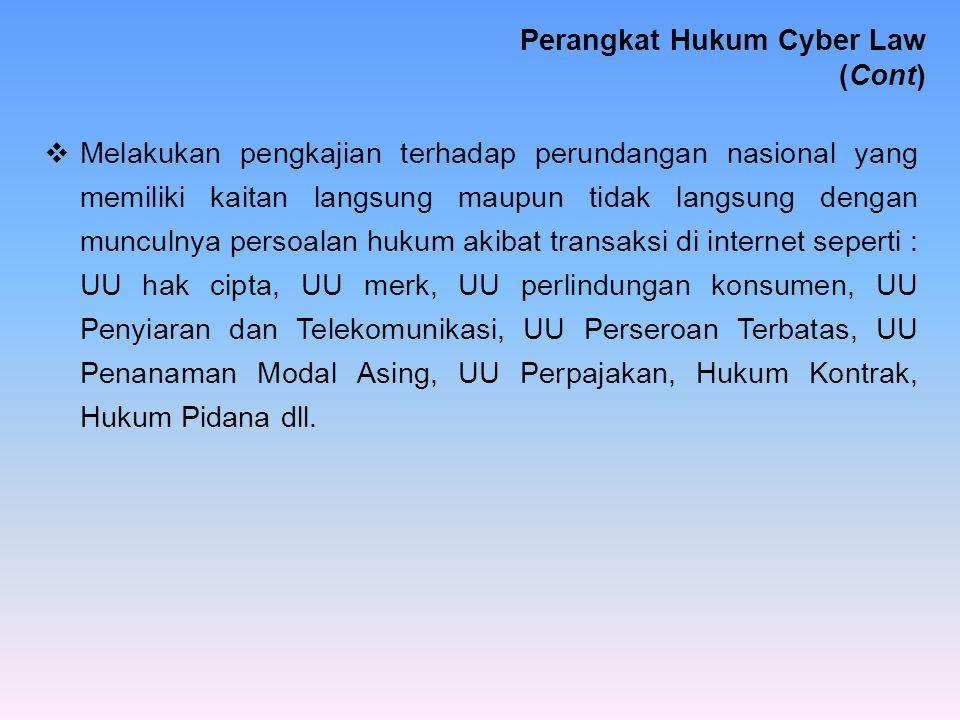 Perangkat Hukum Cyber Law (Cont)
