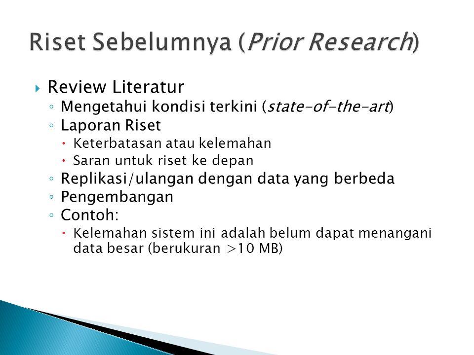 Riset Sebelumnya (Prior Research)