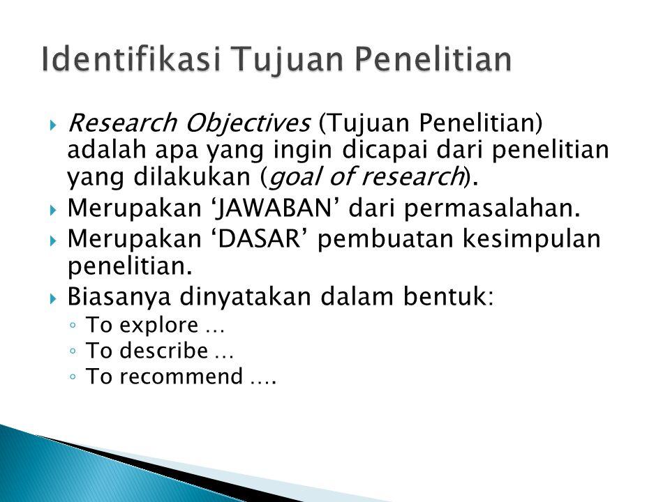 Identifikasi Tujuan Penelitian