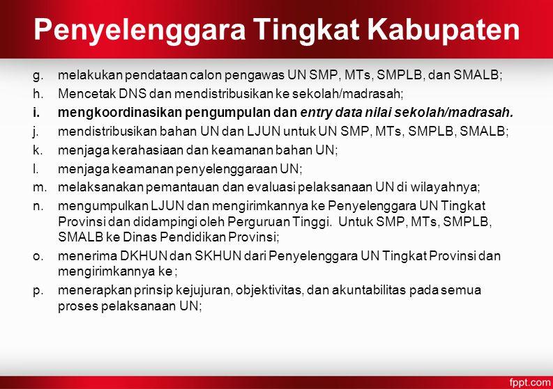 Penyelenggara Tingkat Kabupaten
