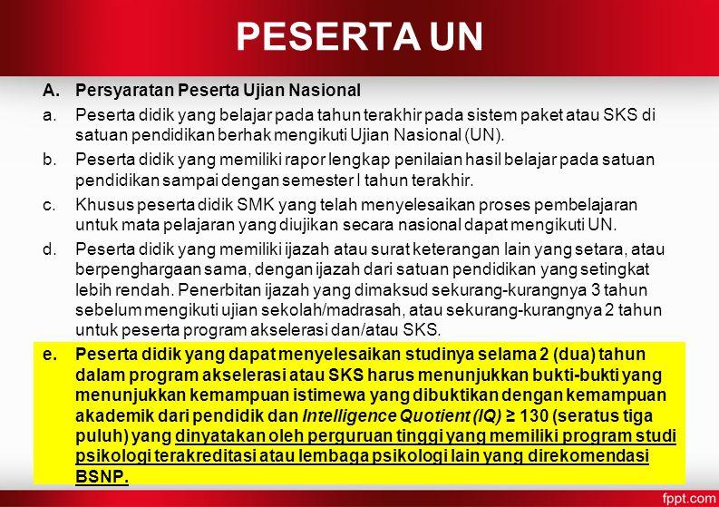 PESERTA UN Persyaratan Peserta Ujian Nasional