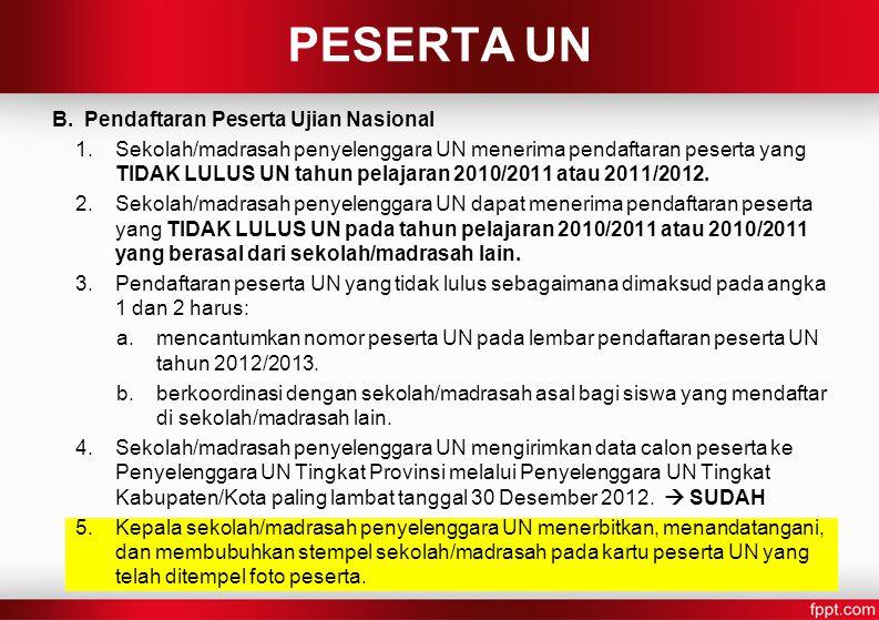 PESERTA UN B. Pendaftaran Peserta Ujian Nasional