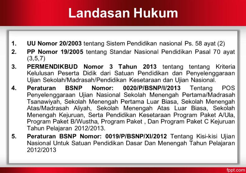 Landasan Hukum UU Nomor 20/2003 tentang Sistem Pendidikan nasional Ps. 58 ayat (2)