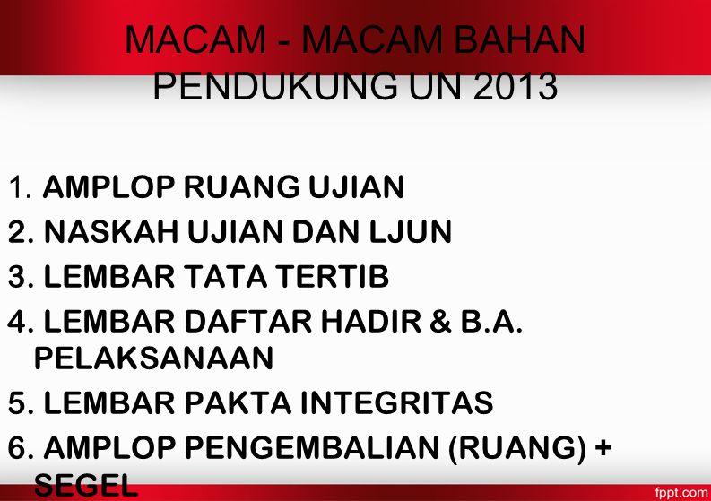 MACAM - MACAM BAHAN PENDUKUNG UN 2013