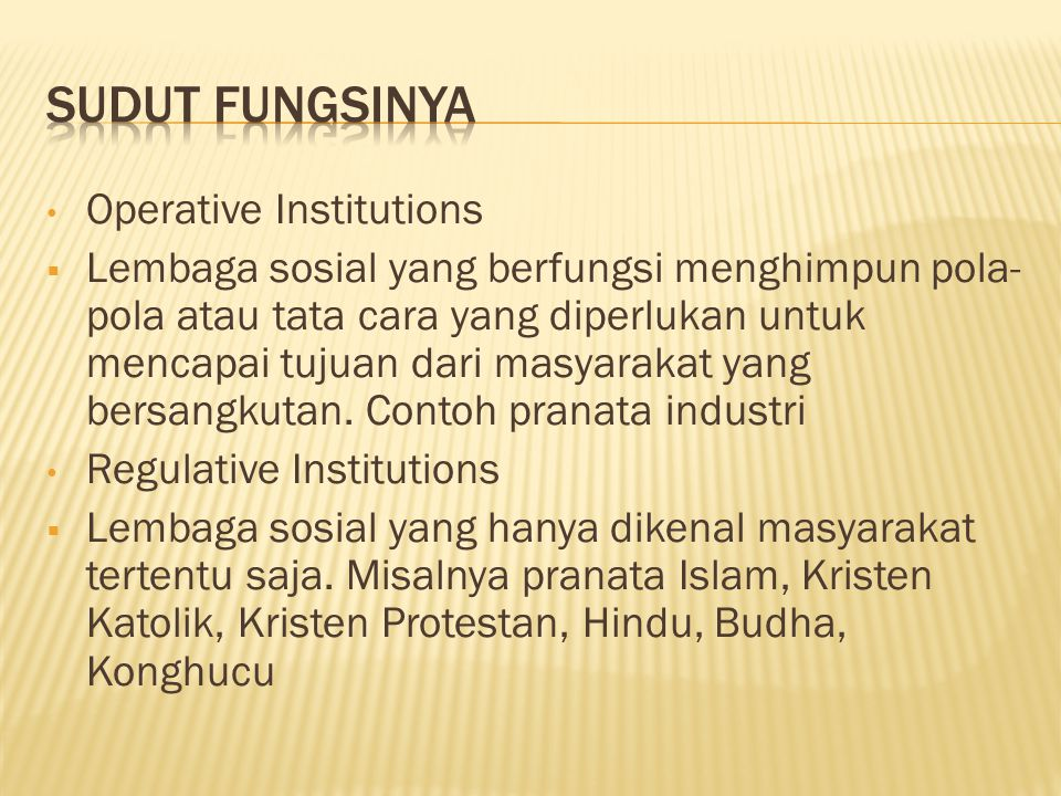 SUDUT FUNGSINYA Operative Institutions