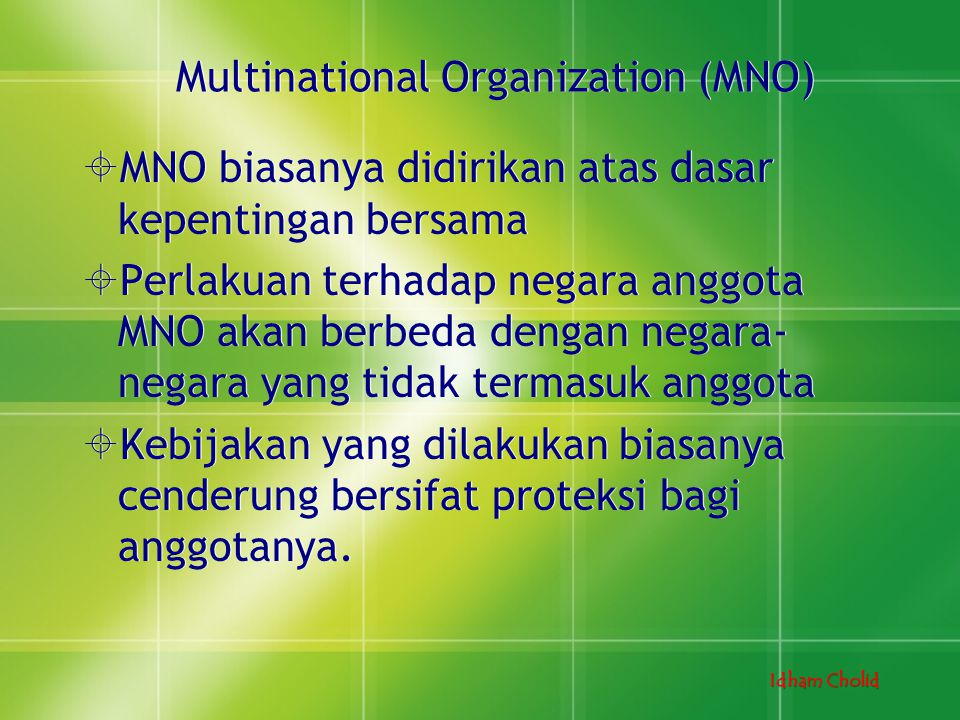 Multinational Organization (MNO)