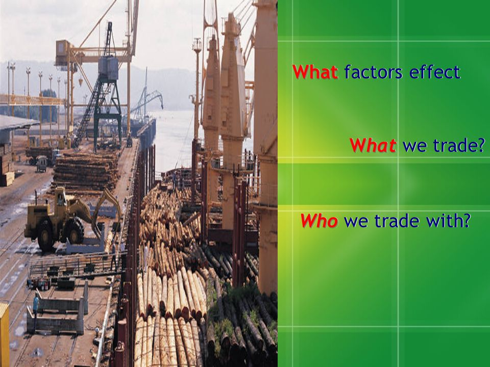 What factors effect What we trade Who we trade with