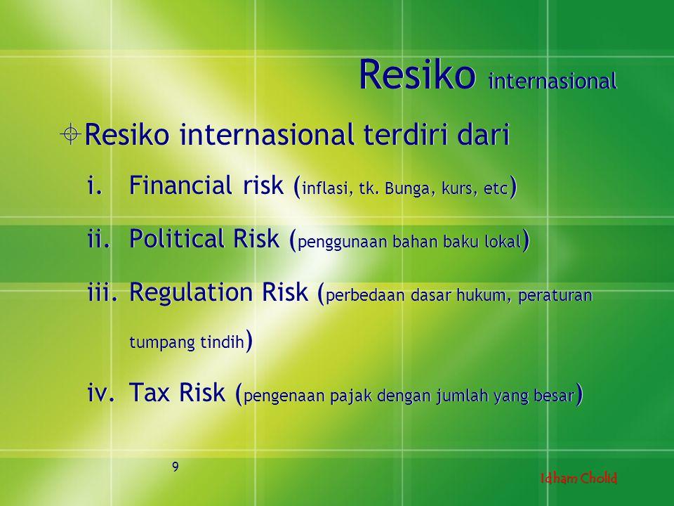 Resiko internasional Resiko internasional terdiri dari