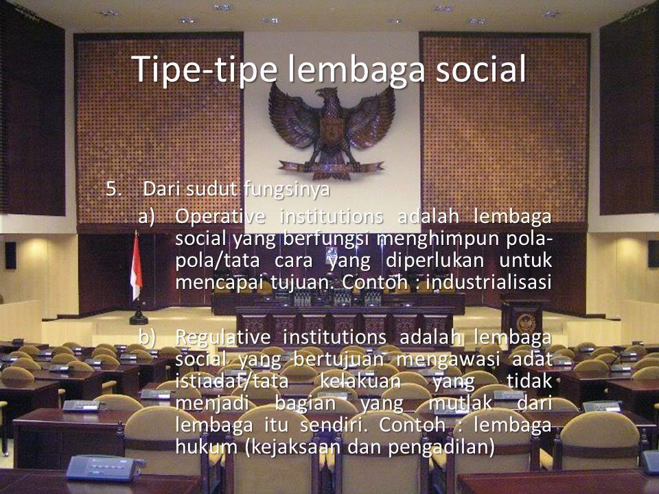 Tipe-tipe lembaga social