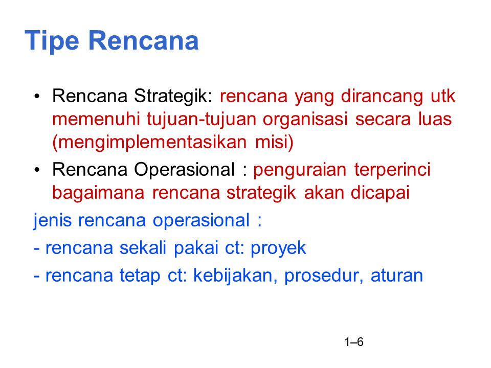 Tipe Rencana Rencana Strategik: rencana yang dirancang utk memenuhi tujuan-tujuan organisasi secara luas (mengimplementasikan misi)