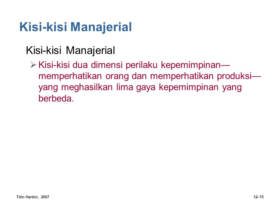 Kisi-kisi Manajerial Kisi-kisi Manajerial