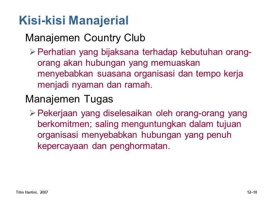 Kisi-kisi Manajerial Manajemen Country Club Manajemen Tugas