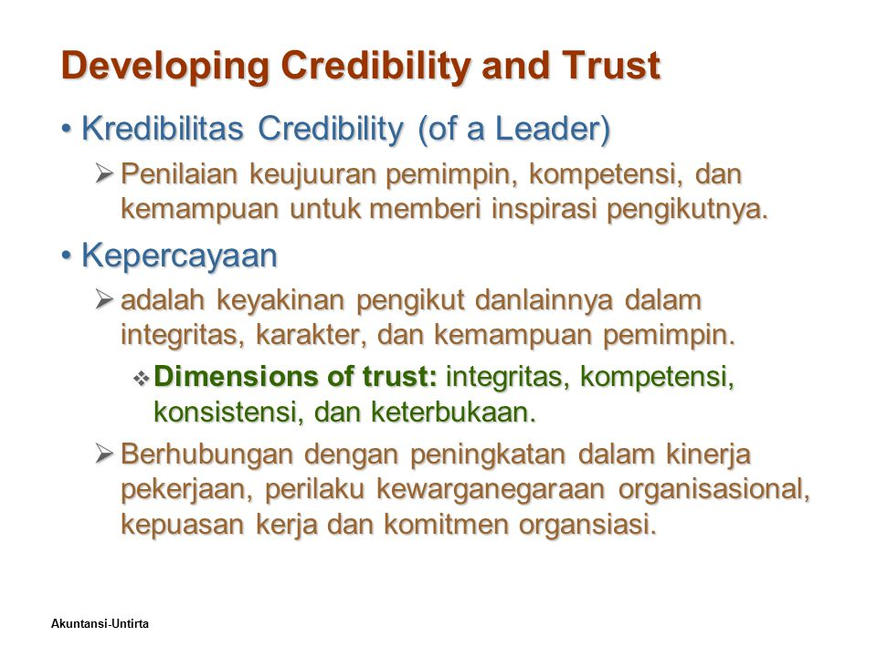 Developing Credibility and Trust