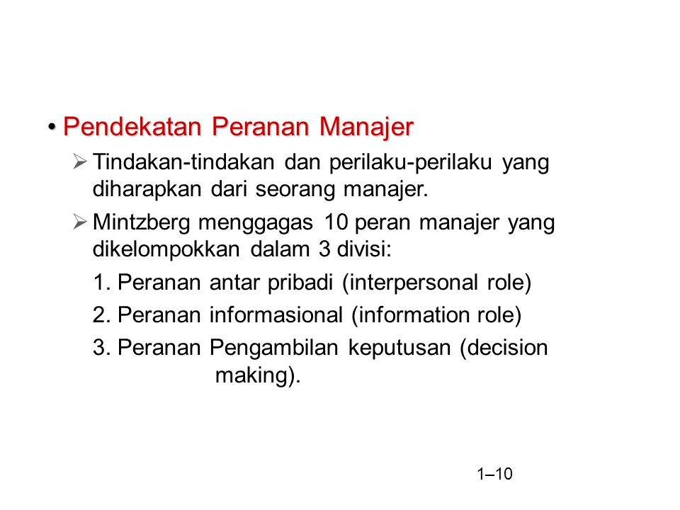 Pendekatan Peranan Manajer