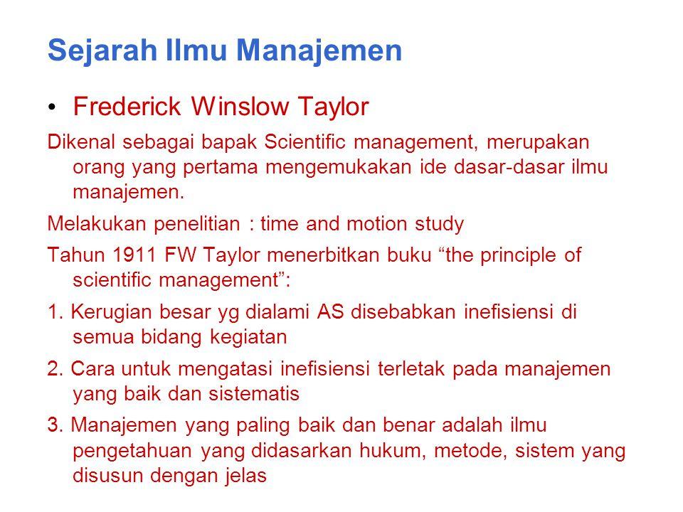 Sejarah Ilmu Manajemen