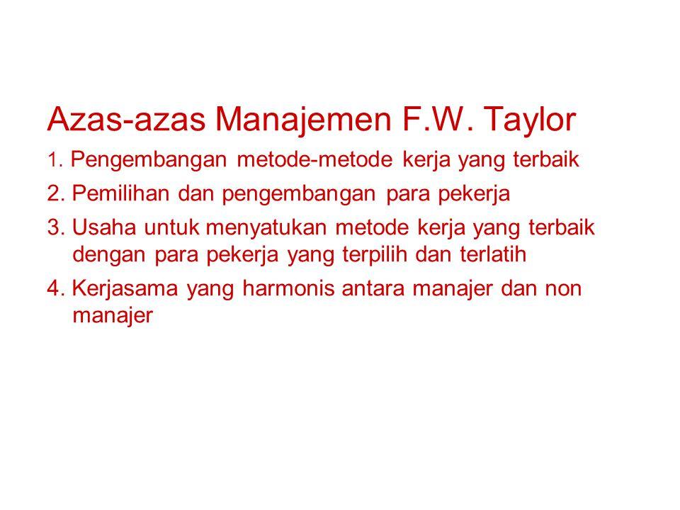 Azas-azas Manajemen F.W. Taylor