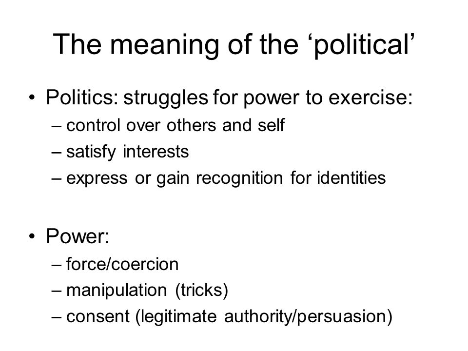 The meaning of the 'political'