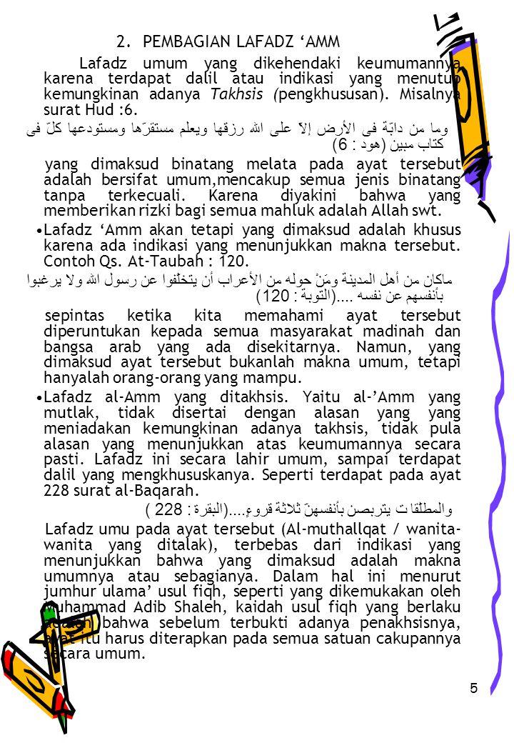 2. PEMBAGIAN LAFADZ 'AMM