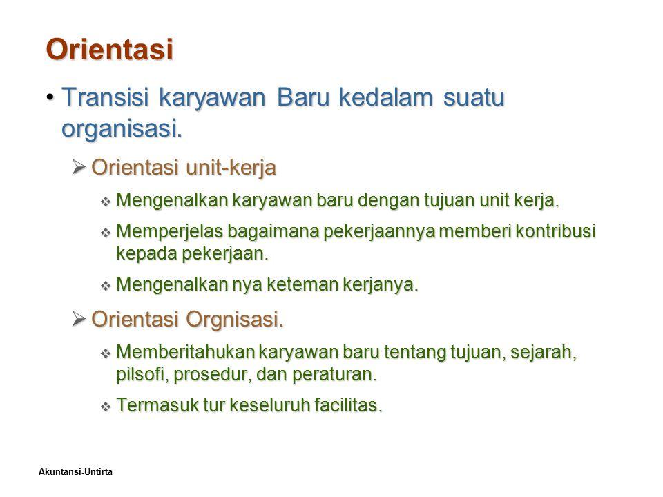 Orientasi Transisi karyawan Baru kedalam suatu organisasi.