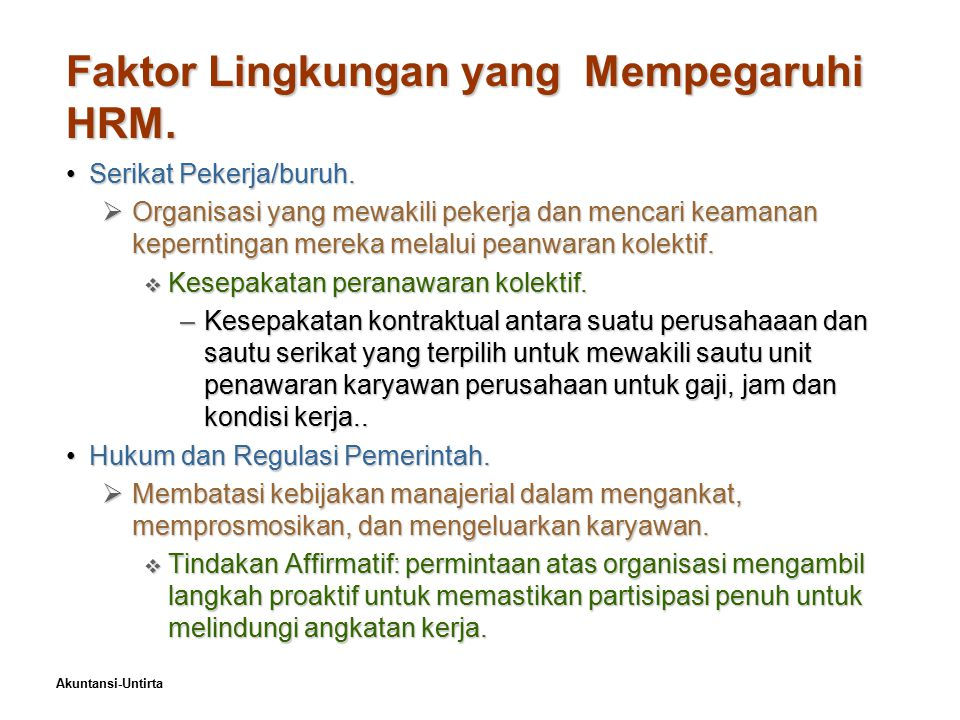 Faktor Lingkungan yang Mempegaruhi HRM.