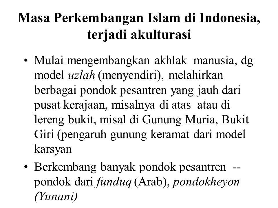 Masa Perkembangan Islam di Indonesia, terjadi akulturasi