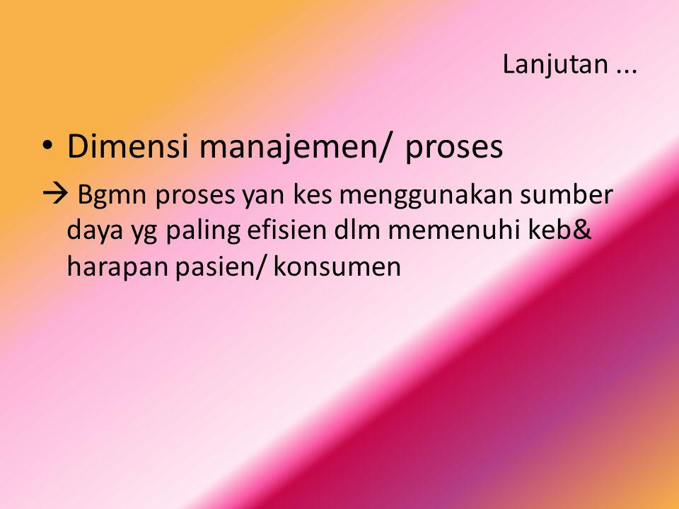 Dimensi manajemen/ proses