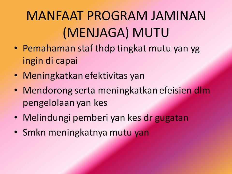 MANFAAT PROGRAM JAMINAN (MENJAGA) MUTU