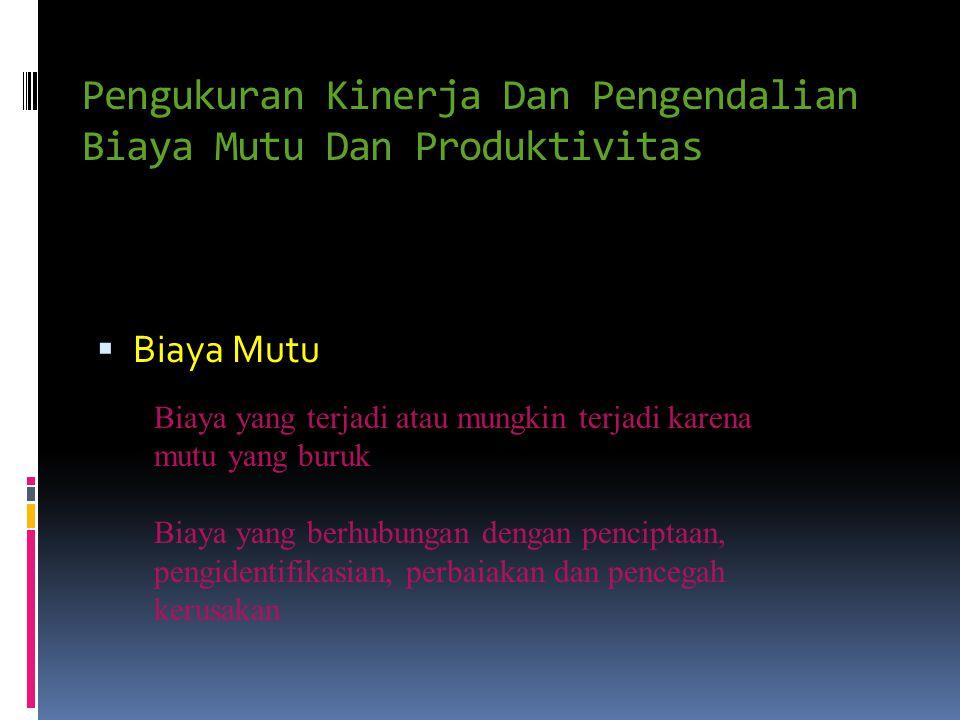 Pengukuran Kinerja Dan Pengendalian Biaya Mutu Dan Produktivitas