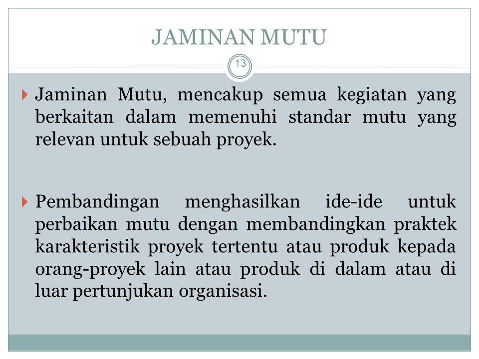 JAMINAN MUTU Jaminan Mutu, mencakup semua kegiatan yang berkaitan dalam memenuhi standar mutu yang relevan untuk sebuah proyek.