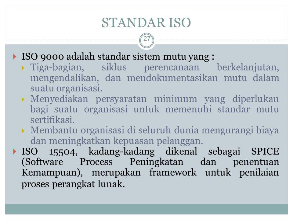 STANDAR ISO ISO 9000 adalah standar sistem mutu yang :