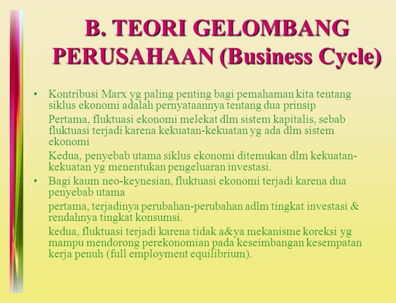 B. TEORI GELOMBANG PERUSAHAAN (Business Cycle)