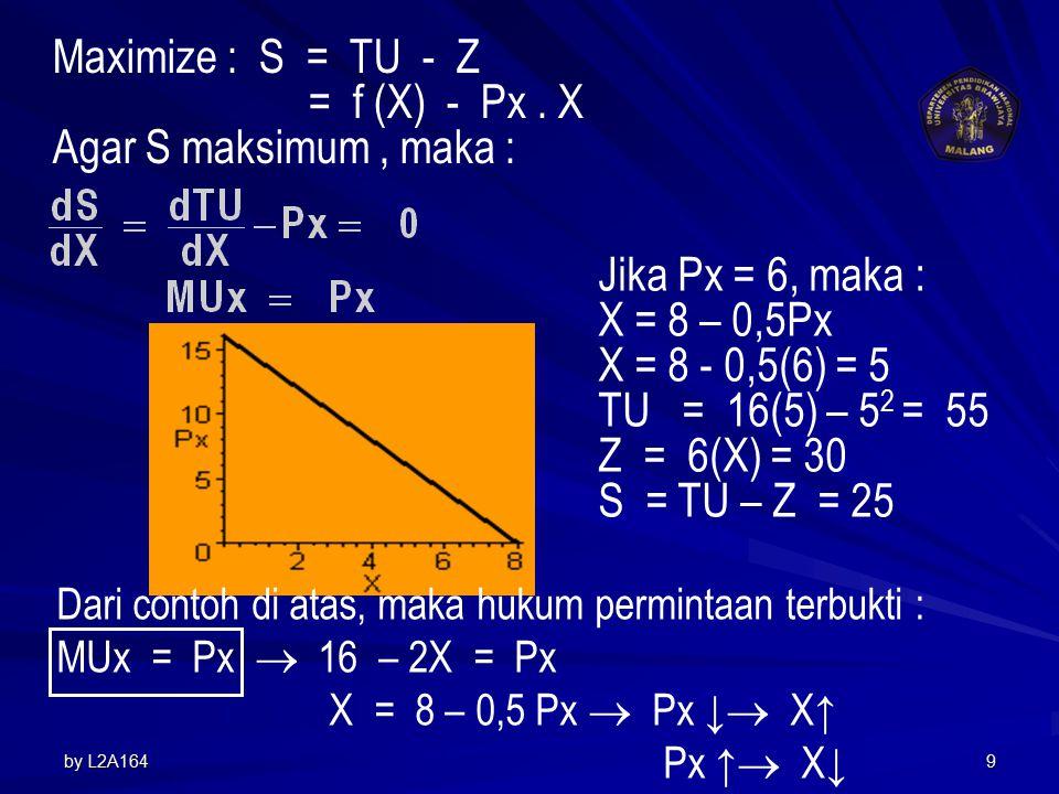 Maximize : S = TU - Z = f (X) - Px . X Agar S maksimum , maka :