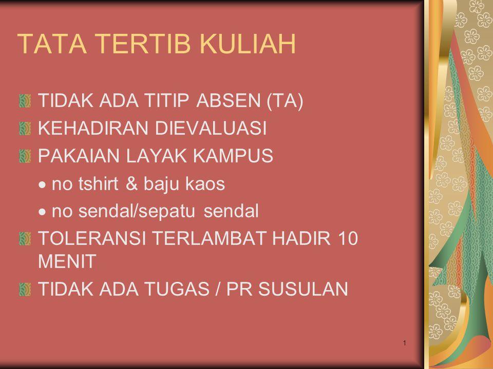 TATA TERTIB KULIAH TIDAK ADA TITIP ABSEN (TA) KEHADIRAN DIEVALUASI
