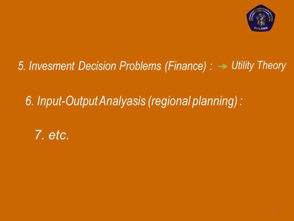 6. Input-Output Analyasis (regional planning) :