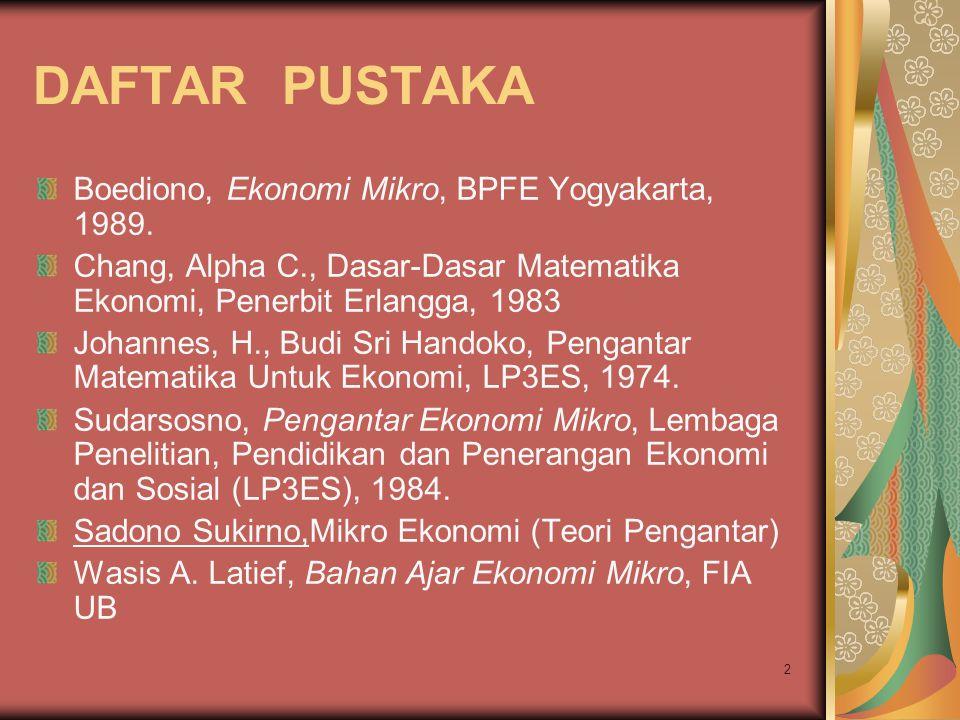 DAFTAR PUSTAKA Boediono, Ekonomi Mikro, BPFE Yogyakarta, 1989.