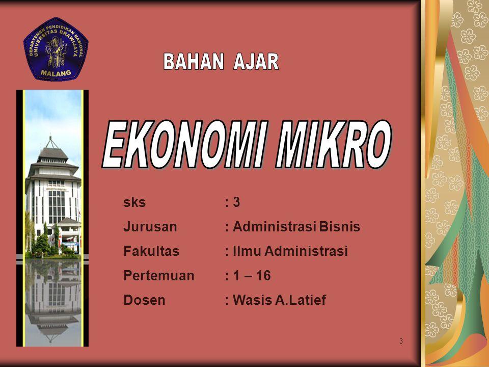 EKONOMI MIKRO BAHAN AJAR sks : 3 Jurusan : Administrasi Bisnis