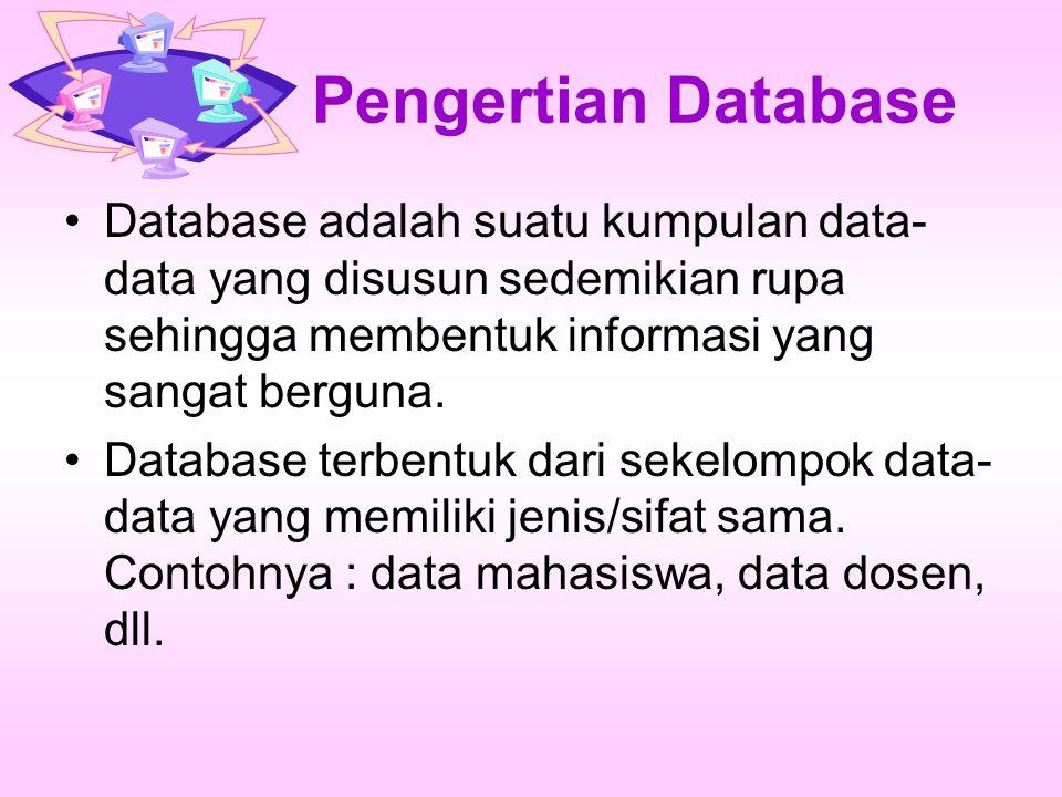 Pengertian Database Database adalah suatu kumpulan data-data yang disusun sedemikian rupa sehingga membentuk informasi yang sangat berguna.