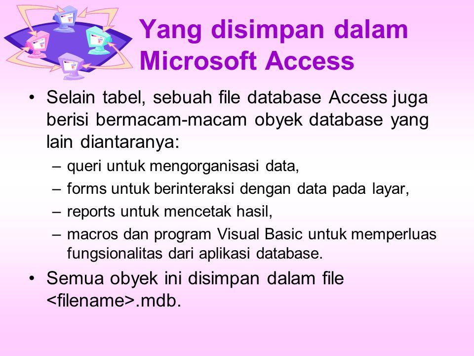 Yang disimpan dalam Microsoft Access