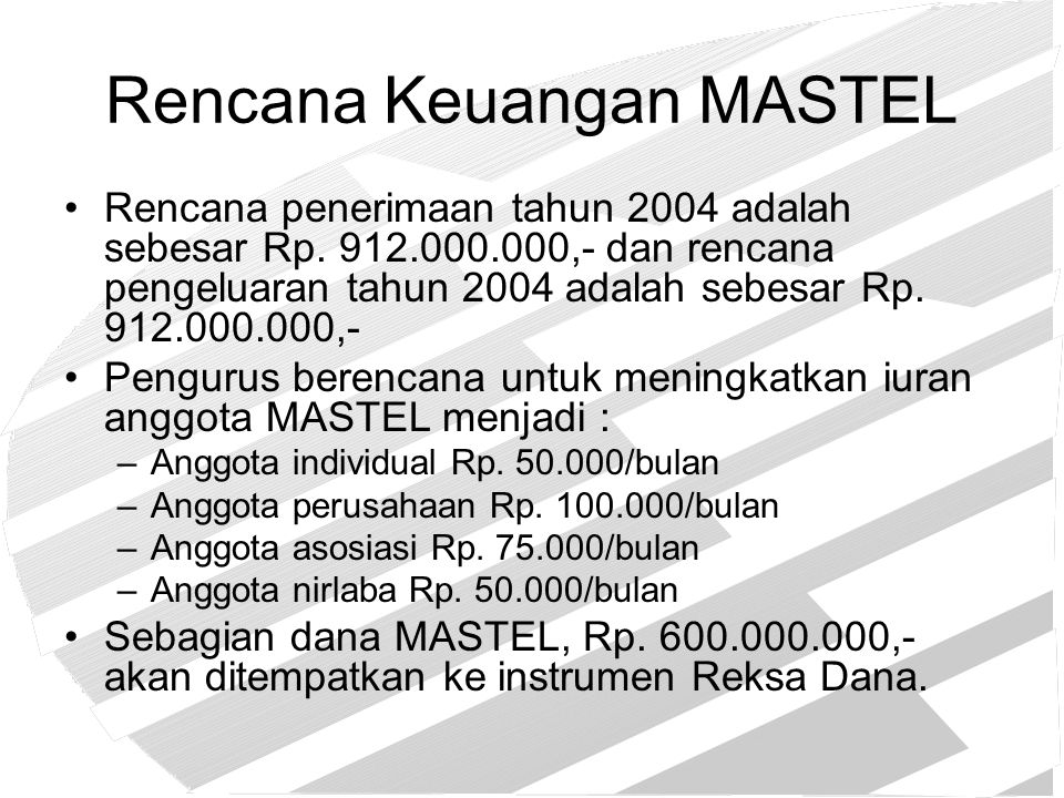 Rencana Keuangan MASTEL