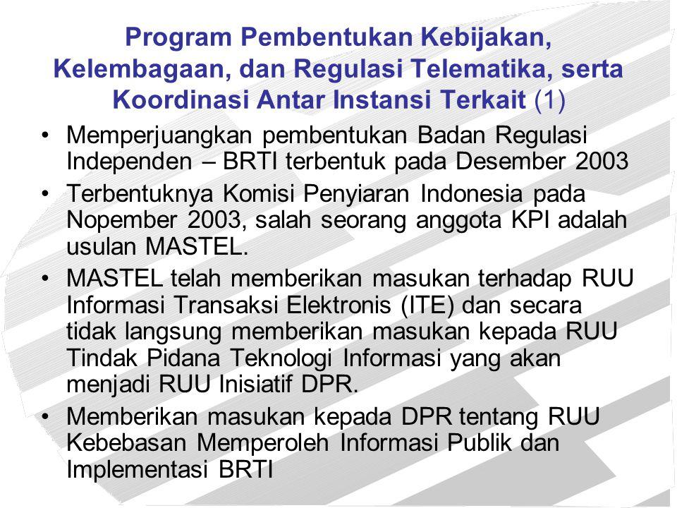 Program Pembentukan Kebijakan, Kelembagaan, dan Regulasi Telematika, serta Koordinasi Antar Instansi Terkait (1)