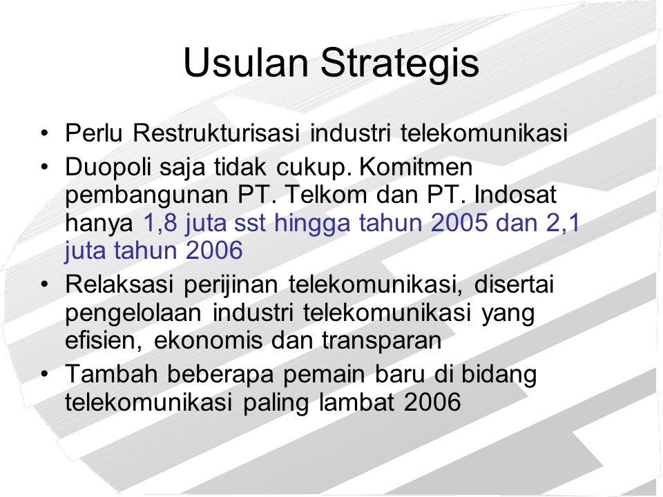 Usulan Strategis Perlu Restrukturisasi industri telekomunikasi